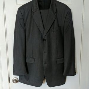 Mens Grey Sharkskin Suit